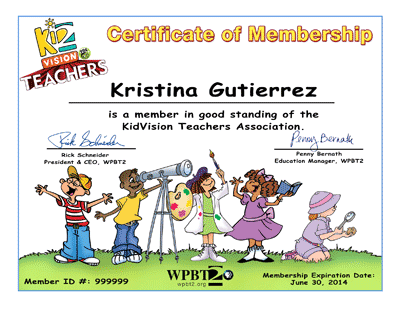 KidVision Teachers Association Certificate